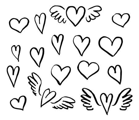 dessin coeur: Vector illustration tirée par la main coeurs ensemble d'éléments de conception