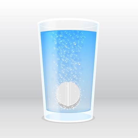 dissolving: effervescent tablet under the water  - vector illustration