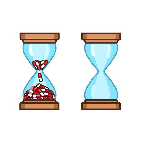 dosage: pills hourglass dosage schedule - vector illustration