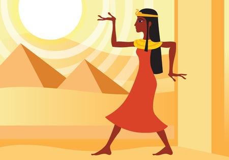 象形文字のポーズで古代エジプトのドレスを着た女性のプロフィール。砂漠のピラミッド