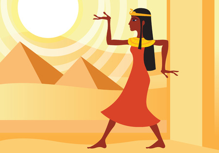 profile view of woman in ancient Egyptian dress in hieroglyphic pose. Pyramids in the desert
