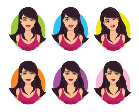 expresiones faciales: chica bonita con diferentes expresiones faciales - ilustraci�n vectorial conjunto Vectores