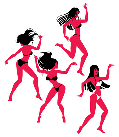 clubber: Vector illustration of dancing girl silhouettes