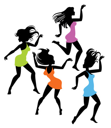tight body: Vector illustration of dancing girl in bright dresses silhouettes