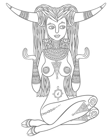 patron: beautiful girl taurus - vector hand drawing zodiac astrological sign - symbol of the spirit of nature or patron of animals