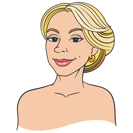 woman smiling: cartoon smiling blonde woman vector hand drawing Illustration