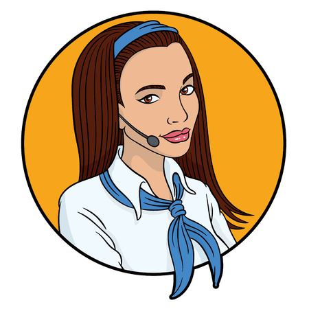 telephone operator: Vector hand drawing - girl telephone operator Illustration