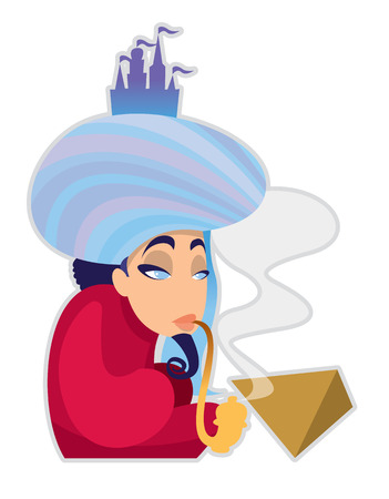 fabled: pensive fairy oriental magician - cartoon vector character