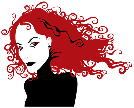 the womanly: Gothic girl with red hair in a black dress - halloween party vector  illustration