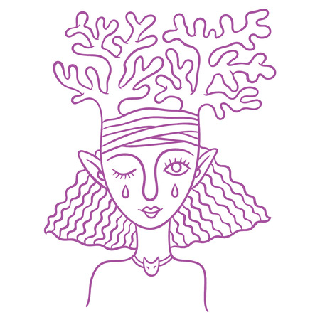 fertile: spirits of nature - young girl fairy - symbol of the spirit of animals