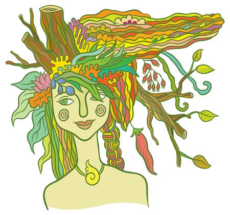 Goddess Mother Nature - symbol of the spirit of nature - hand drawing vector illustration 向量圖像