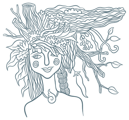 fertile: Goddess Mother Nature - symbol of the spirit of nature - hand drawing vector illustration Illustration