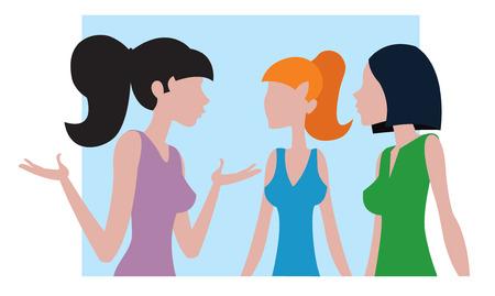 chat room: three girls talk vector illustration Illustration