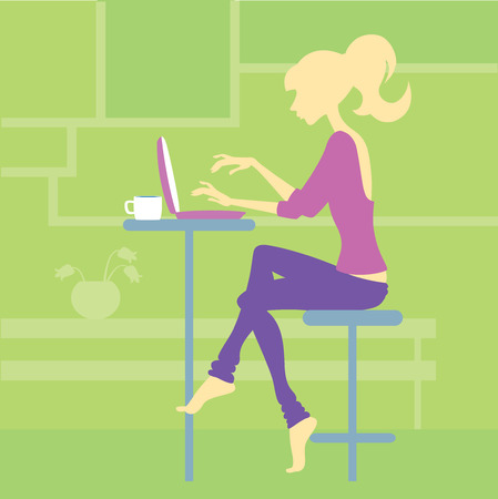 laptop vector: slender young woman sitting at table with laptop - vector illustration