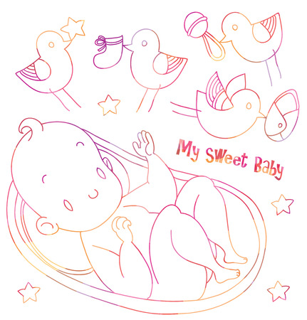 bootees: little newborn smiles from the cradle surrounded by lovely birds