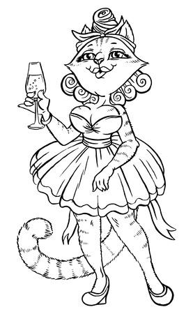 dreamlike: playful cat with glass in beautiful dress Illustration