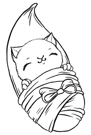 Sombrío De Estar Gato De Dibujos Animados - Línea De Dibujo A Mano ...