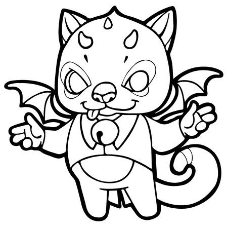 daemon: fantasy cartoon kitten with horns, wings and bells - fabulous little devil