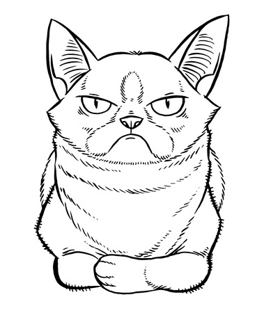 gloomy cartoon cat sitting - line drawing hand-drawing sketch  イラスト・ベクター素材