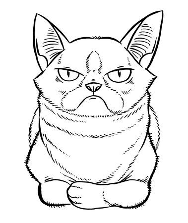gloomy cartoon cat sitting - line drawing hand-drawing sketch Illustration