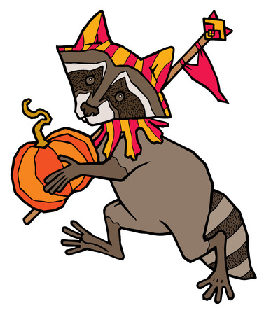 carries: raccoon in jester costume carries a pumpkin - vector illustration isolated on white background