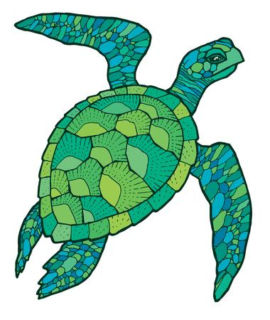groene zeeschildpad - kleurrijke vector gestileerde tekening