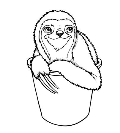 oso perezoso: la pereza de tres dedos de la pereza o Bradypodidae - ilustraci�n vectorial