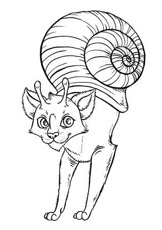 assumed: Fantasy cartoon snail cat - vector illustration Illustration