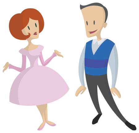 confident woman: cute cartoon illustration of people - man and woman