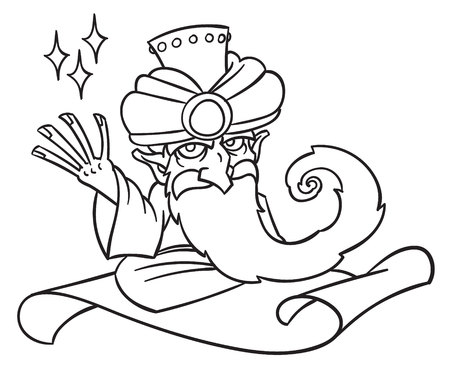 man flying: Mysterious man from the east - Cartoon Magician on flying magic carpet