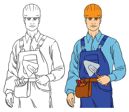 overalls: cute  attractive builder - vector illustration coloring drawing Illustration
