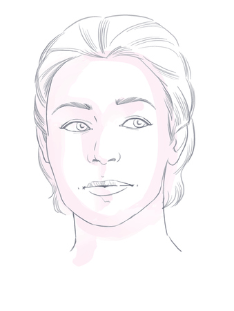 hand drawn face of young woman - vector sketch
