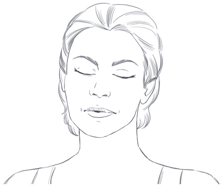 hand drawn face of  young woman with closed eyes - vector sketch