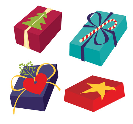 ribbons and bows: Set of colorful gift boxes with bows, ribbons and rich design decor - vector illustration.