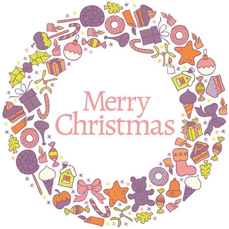 teddy wreath: Merry Christmas greetings illustration - vector design happy new year card frame christmas wreath