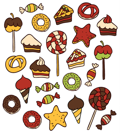 sweet food: Sweet food icons set - candy  sweets lollipop cake donut   ice cream Illustration