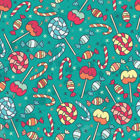 confectionery: candy cane, sweet candy, candy apple and lollipop - confectionery vector seamless pattern