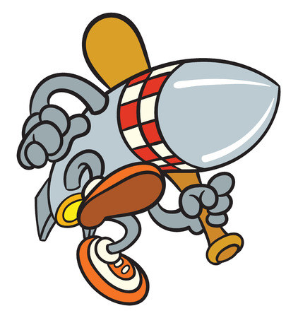 move gun: Cartoon rocket bomb with baseball bat