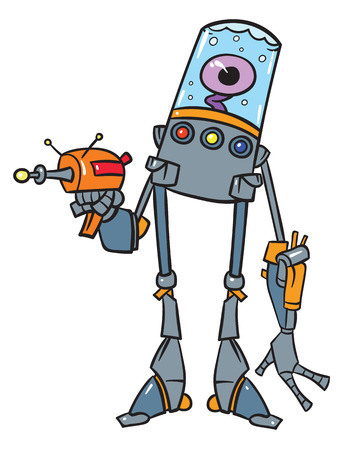 move gun: Vector cartoon illustration of robot with large legs and hands with eye in liquid. EyeBot has laser Gun in arm.