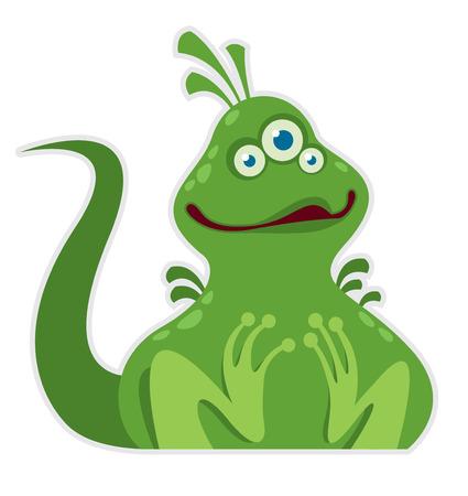 Funny green monster sitting vector illustration Illustration