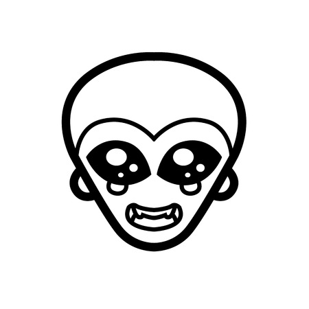 green man: extraterrestrial alien icon green man big black eyes smile extraterrestrial intelligence design for logo vector mascot