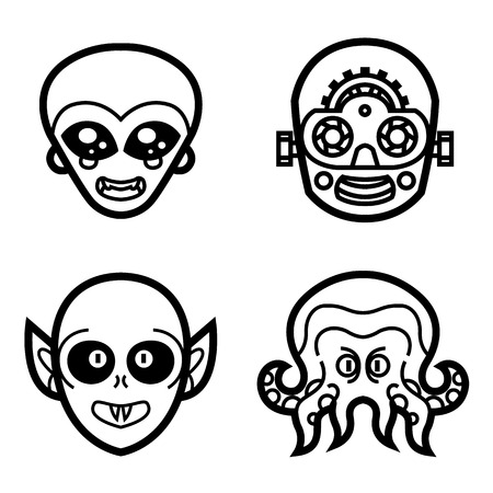 robot face: vampire ghoul Alien extraterrestrial robot cyborg monsters cute eyes smile face vector halloween mask tattoo icons logos