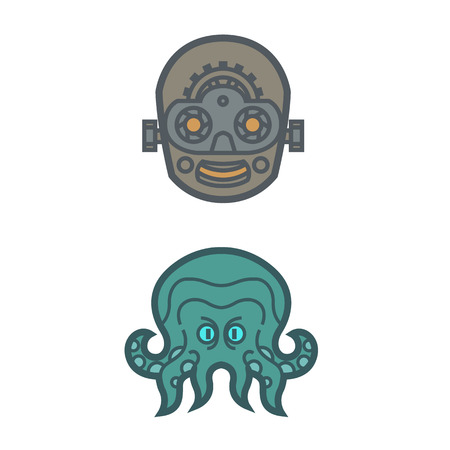 octopus Cthulhu mythical monster tentacle artificial intelligence robot mind mask design for logo vector mascot smiling