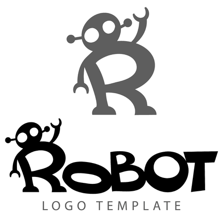 android robot: stylized lettring with picture of robot like letter R - vector logo template