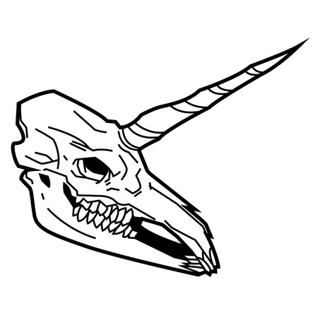 skull unicorn mythical creature - horned symbol vector black and white hipsters sign suitable for mascot and logo design