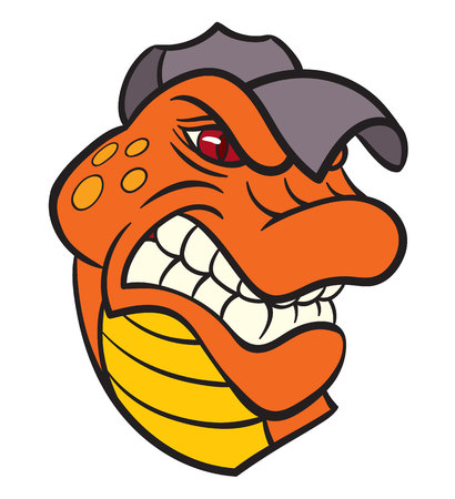 agressive: Vector drawing - powerful agressive lizard gecko in baseball cap Illustration