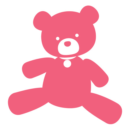 kids toys: vector neat picture pink bear - for signs, logos and stamping Illustration