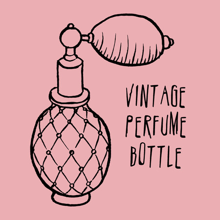 pulverizer: Pen and ink drawn vintage perfume bottle