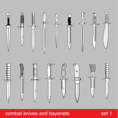 sword fight: bayonets and tactical knives. equipment of different armies in the world - graphical vector set. Illustration