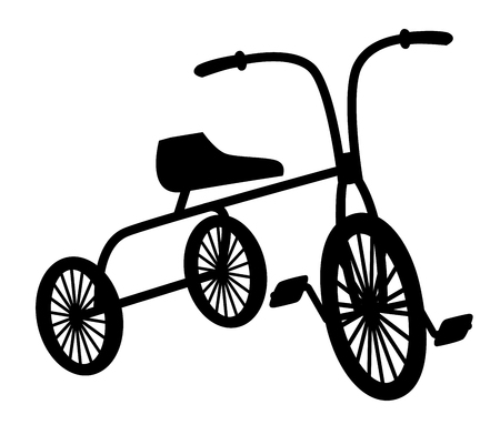 treadle: Kids vintage bicycle black silhouette